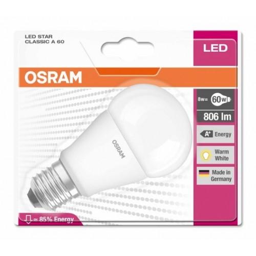 OSRAM LED STAR CLASSIC A 60 8W E27 WW
